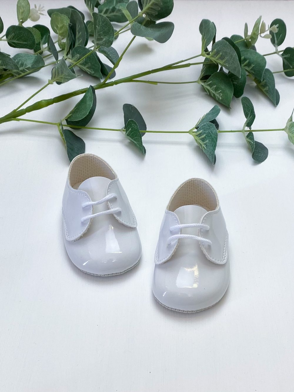 White Patent Lace Up Pre Walkers