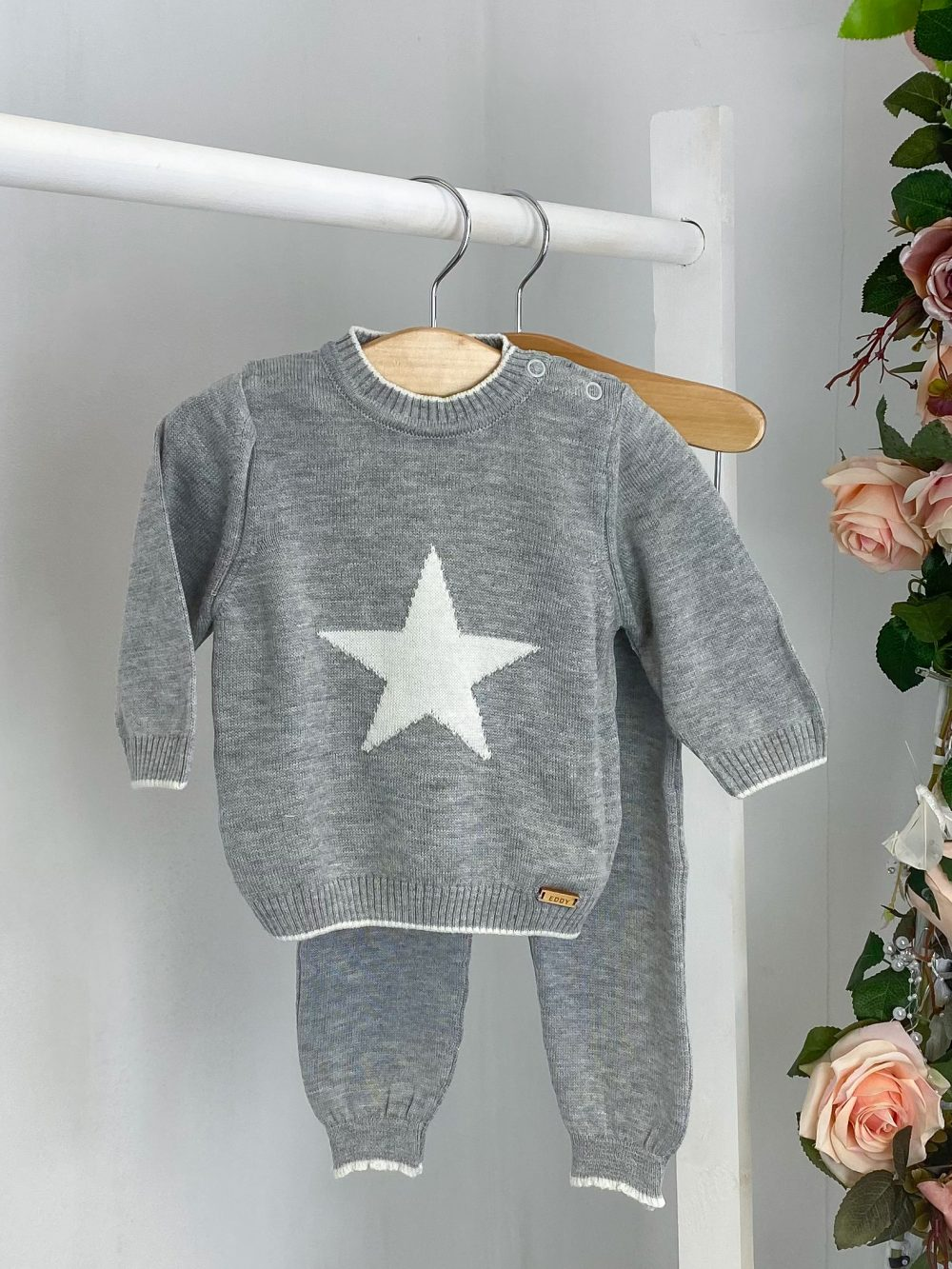 Grey Star Print Knitted Two Piece