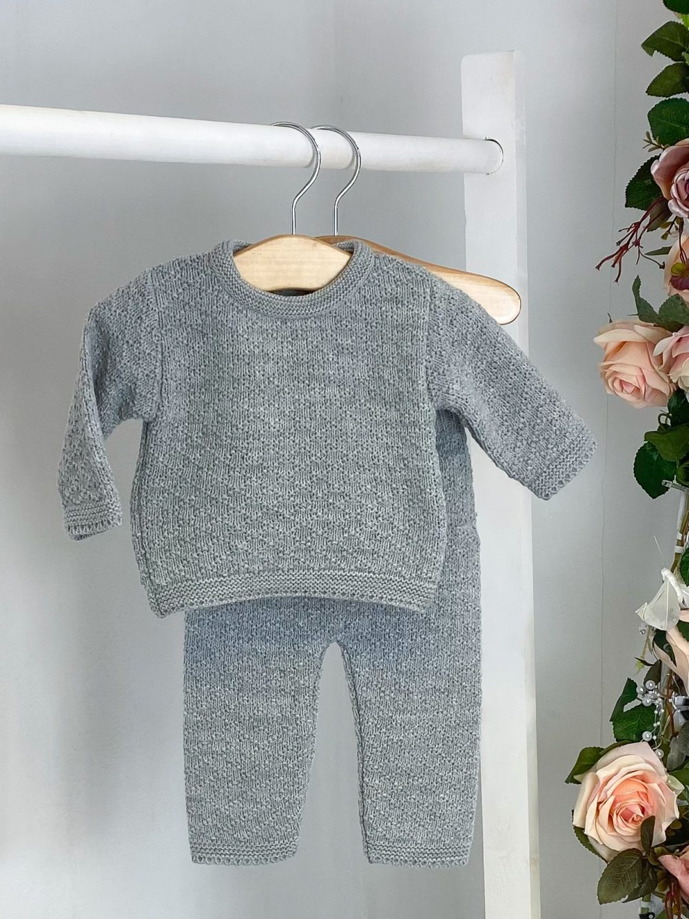 Grey Diamond Knitted Two Piece