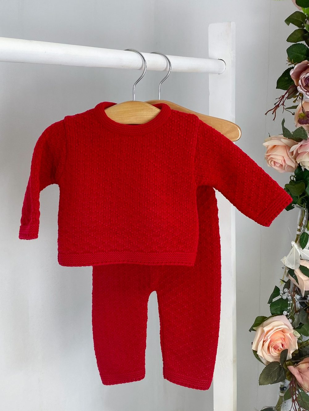 Red Diamond Knitted Two Piece