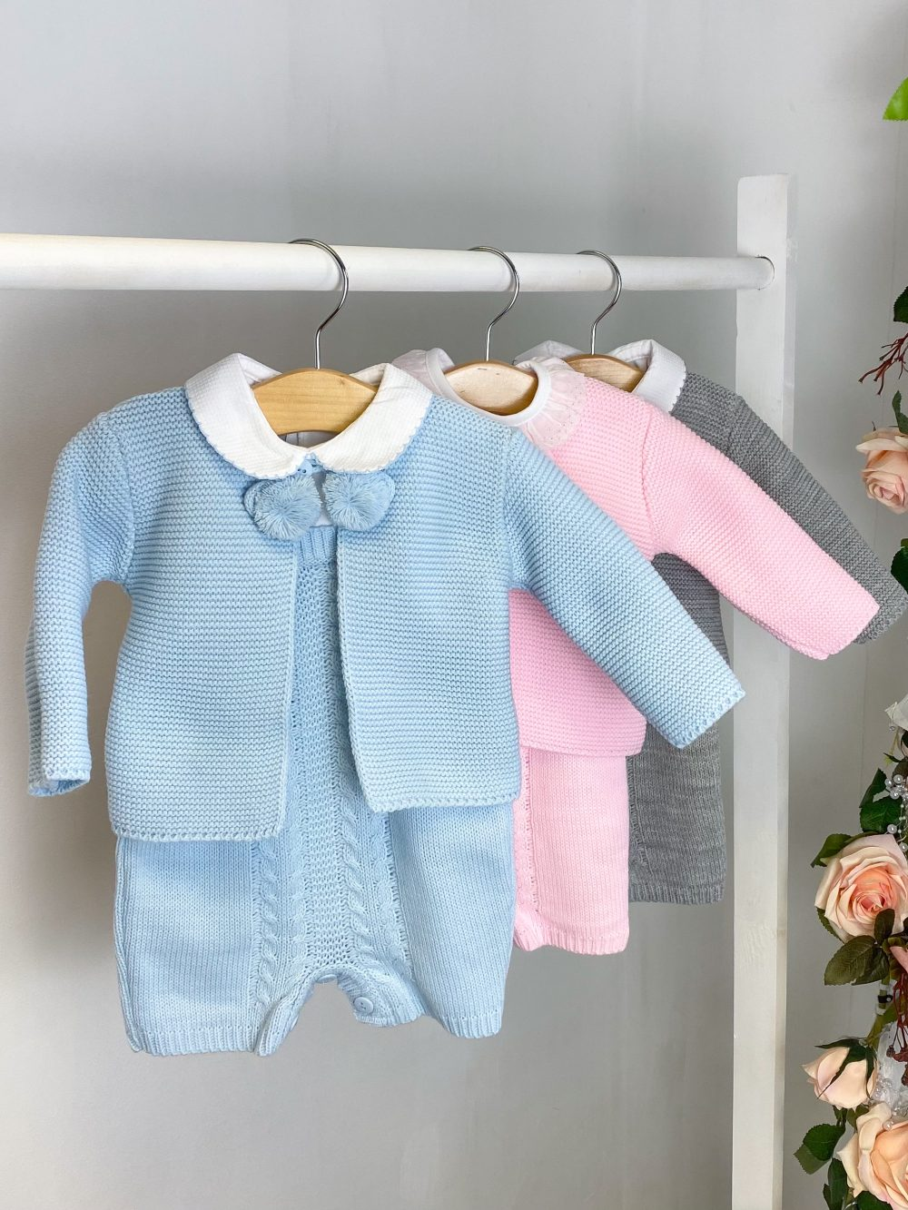 Knitted Cardi & Dungaree Sets
