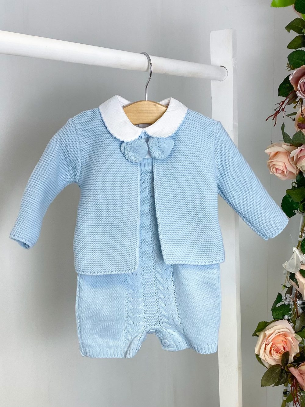 Blue Knitted Cardi & Dungaree Set 2