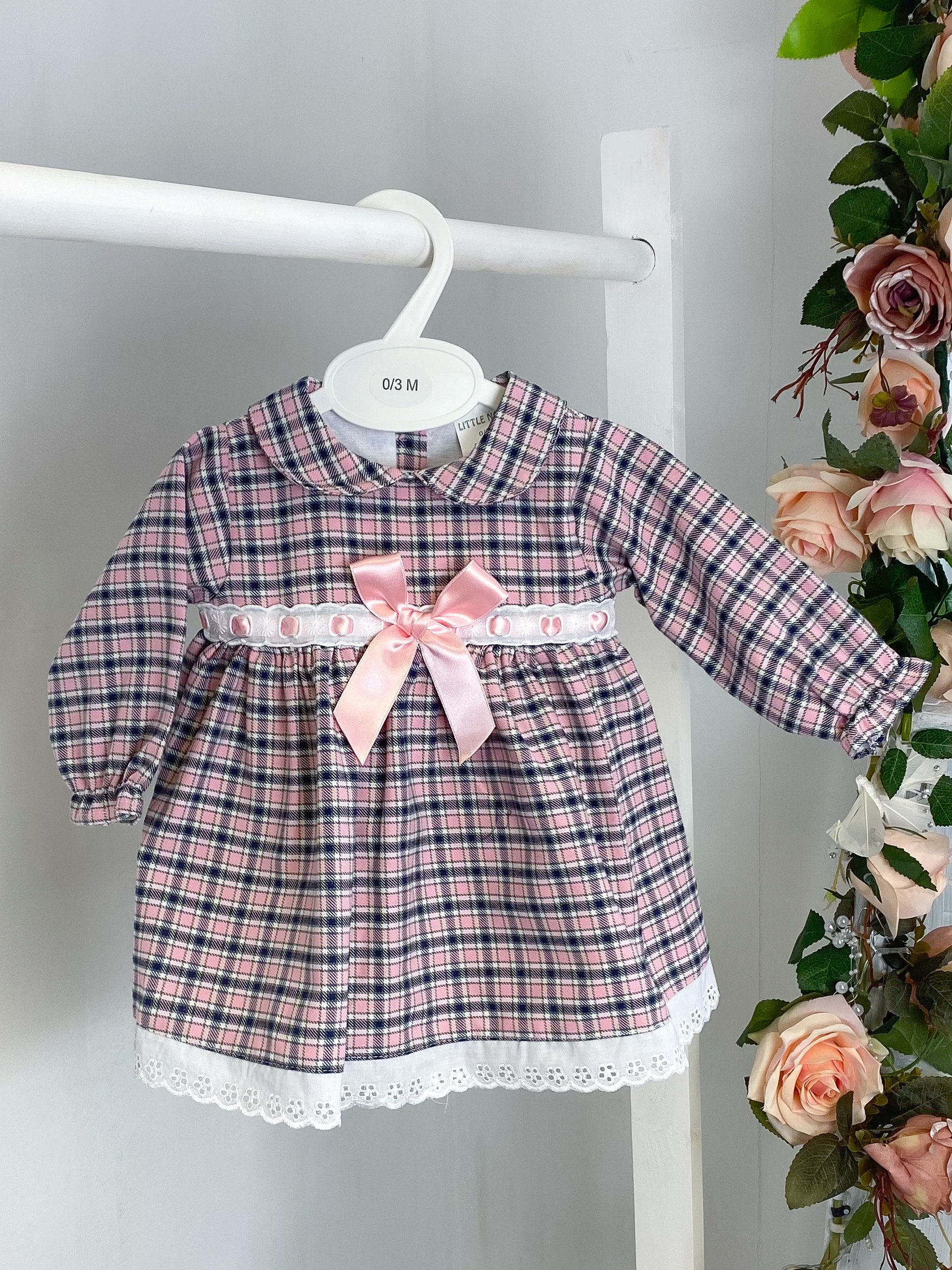 Pink & Navy Checked A-Line Dress