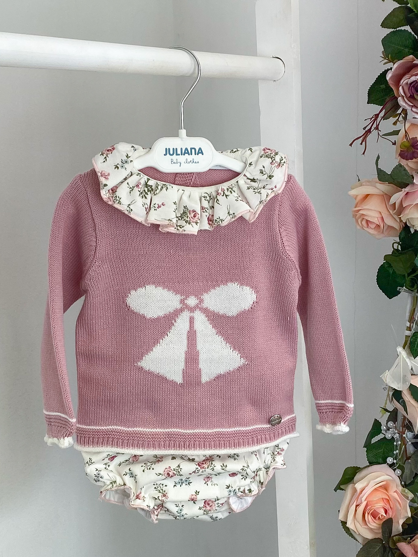 Blush Bow Jumper & Floral Bloomers