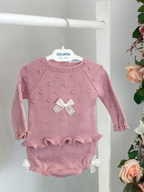 Blush Lace Bow Jumper & Bloomers
