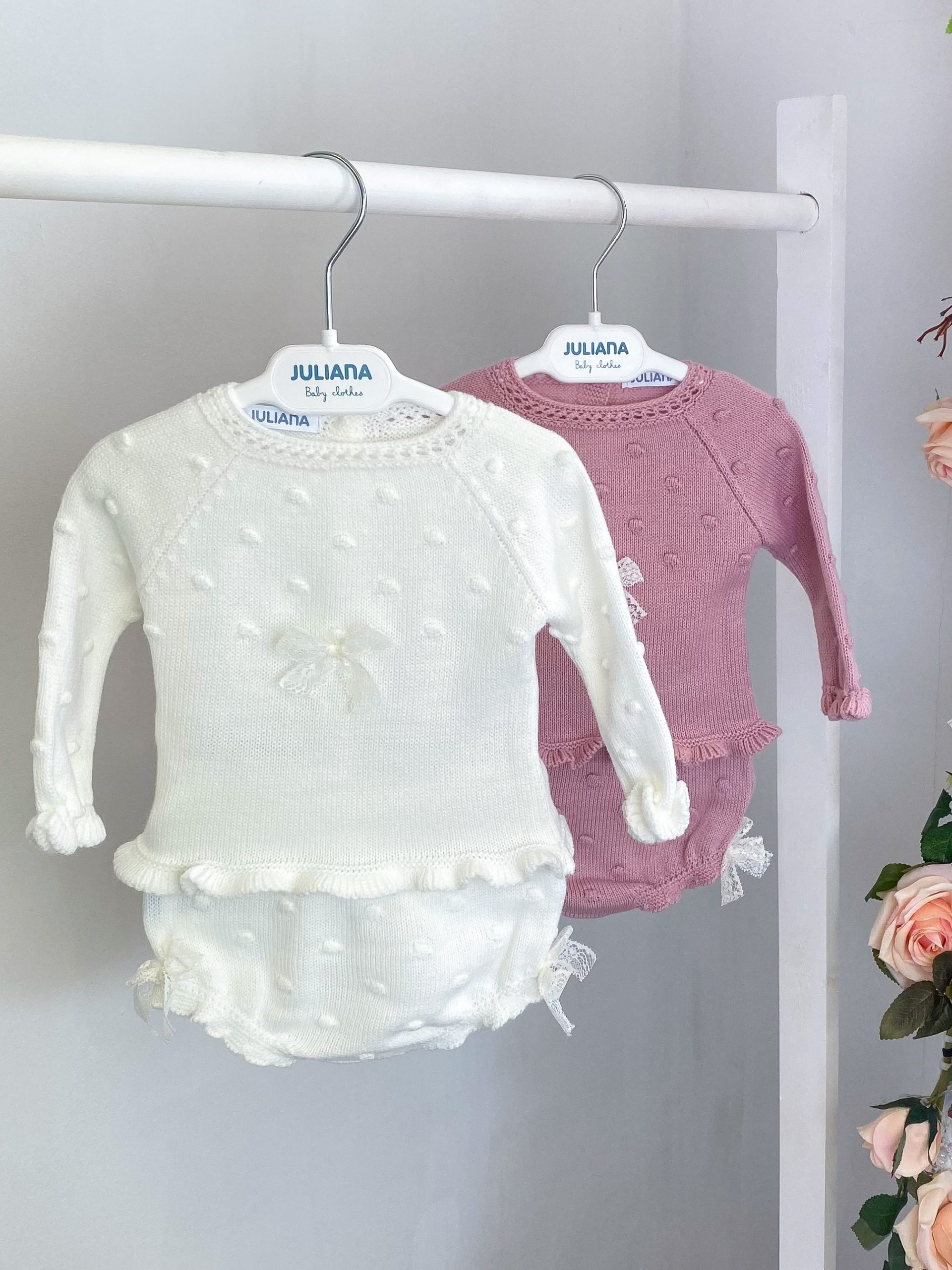 lace bow knitted pants set