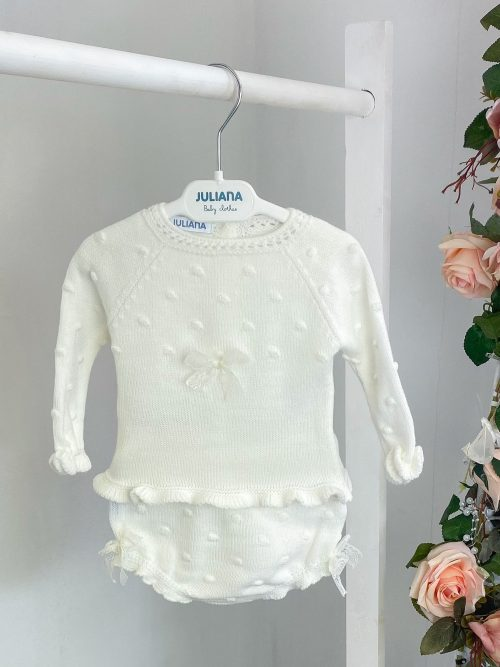 Ivory Lace Bow Jumper & Bloomers