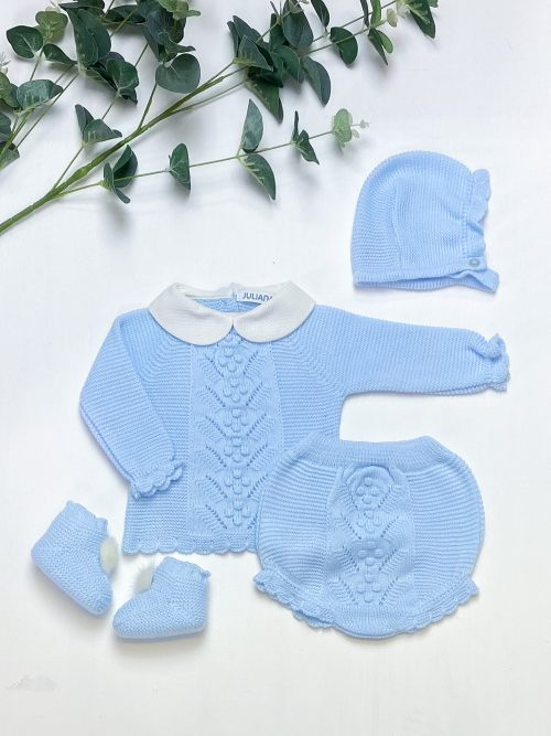 Blue Knitted 4-Piece Set