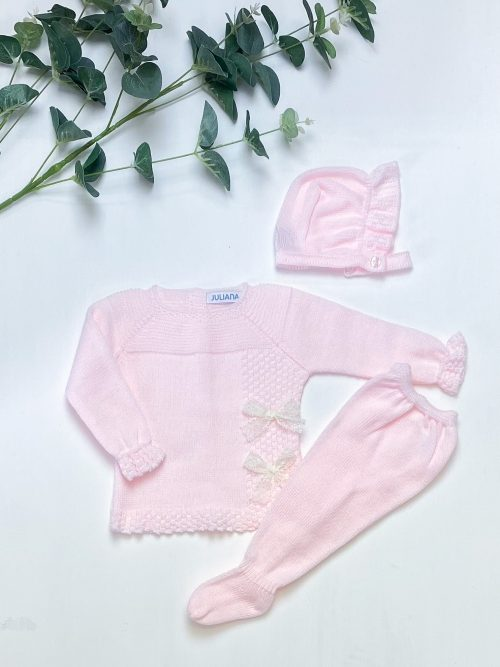Pink Lace Bow Knitted 3-Piece