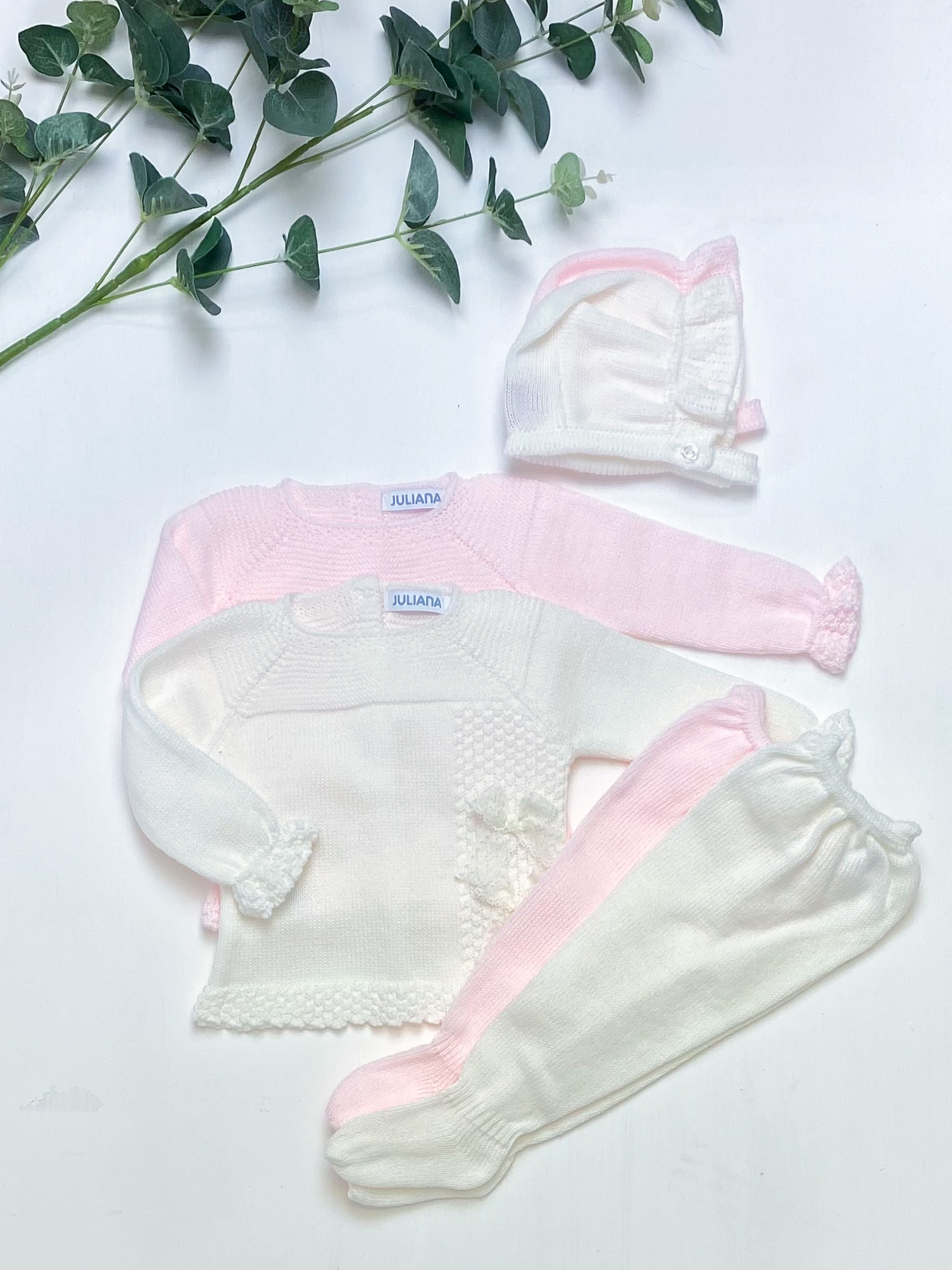 lace bow knitted 3-pieces