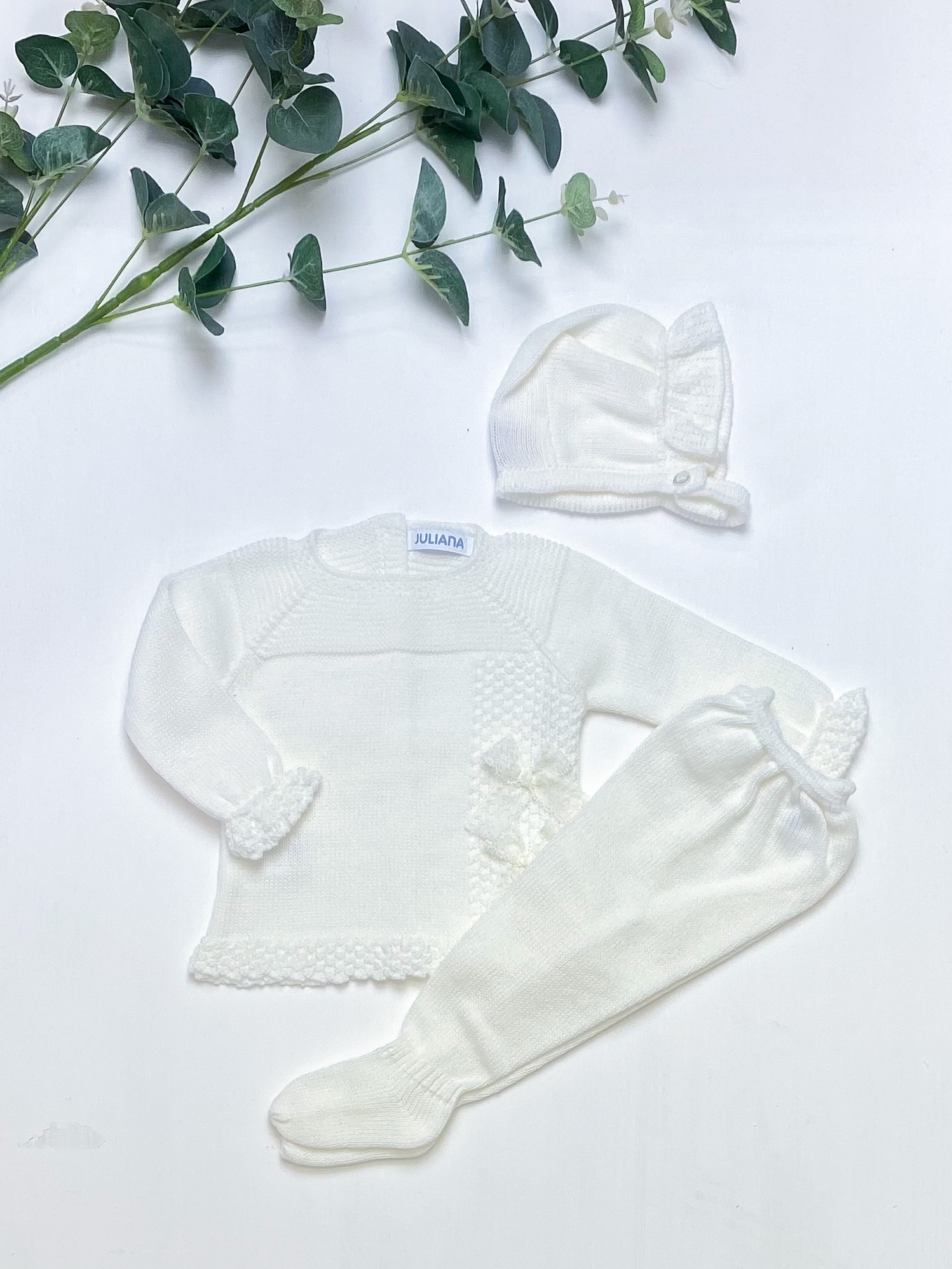 Ivory Lace Bow Knitted 3-Piece