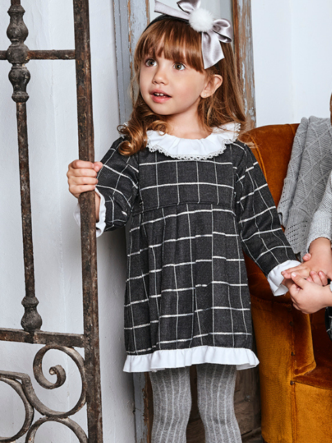 Charcoal & Silver Checked Dress