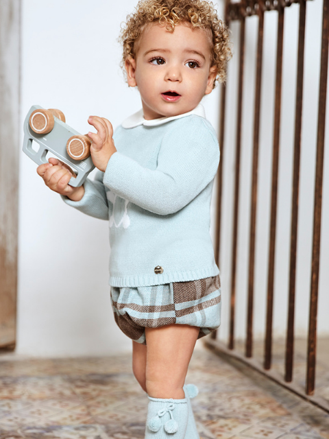 Mint Teddy Jumper & Checked Pants